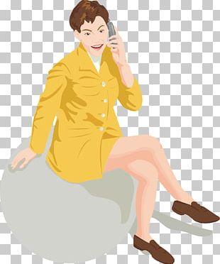 Woman Cartoon Telephone Illustration PNG