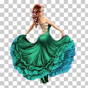 Dress Gown Woman Skirt Blue PNG