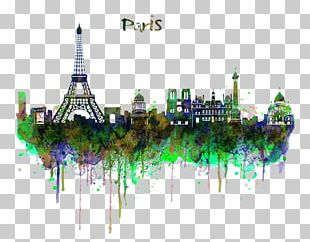 Skyline Watercolor Painting Art Drawing PNG