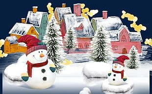 Snowman And House PNG