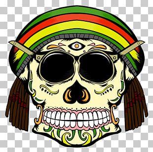 Skull Calavera Rastafari Reggae PNG