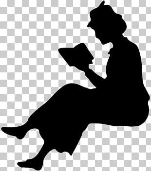 Silhouette Woman Reading PNG