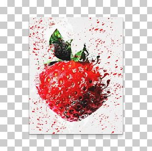 Strawberry Art Painting Fruit Canvas PNG