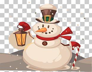 Snowman Christmas Cartoon Illustration PNG