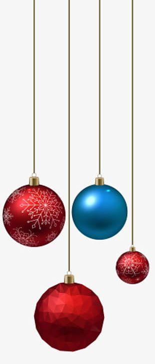 Long Rope Hanging Christmas Balls PNG