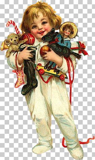 Frances Brundage Santa Claus Child Christmas Card PNG