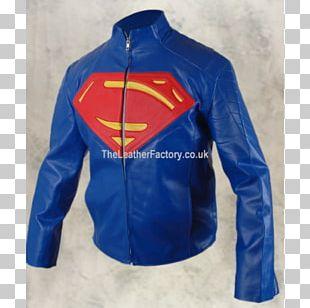 Superman Logo Clark Kent Steel (John Henry Irons) Leather Jacket PNG