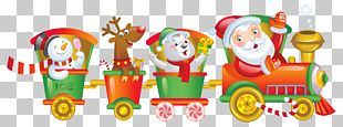 Train Santa Claus Rail Transport Christmas PNG