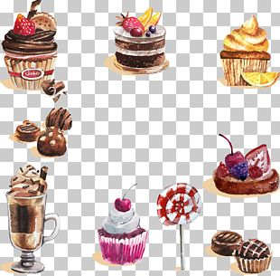 Watercolor Painting Dessert Cupcake Candy PNG