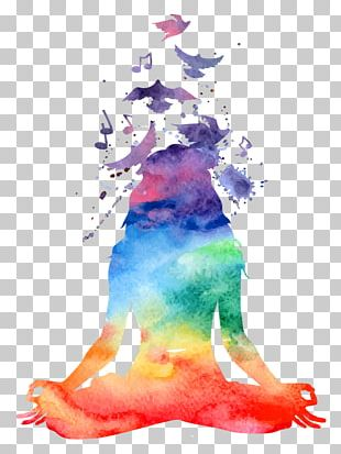 Chakra Meditation Watercolor Painting Yoga PNG