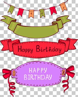 Happy Birthday Material Label Bunting PNG