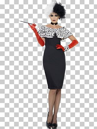 Cruella De Vil Costume Party Dress Halloween Costume PNG