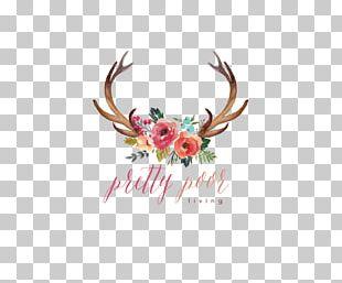 Deer Antler Watercolor Painting Flower PNG