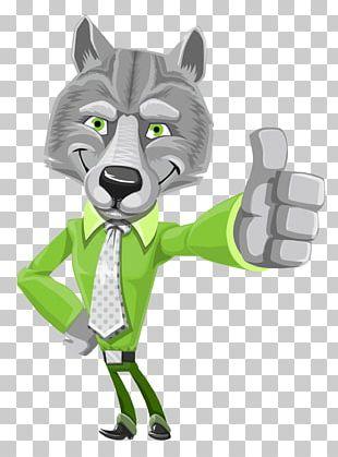 Gray Wolf Cartoon Illustration PNG