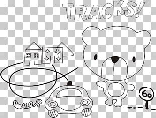 White Line Art Drawing Cartoon PNG