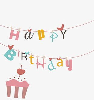 Cartoon Birthday Background High-definition Buckle Material PNG