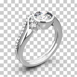Wedding Ring Silver Colored Gold Moissanite PNG