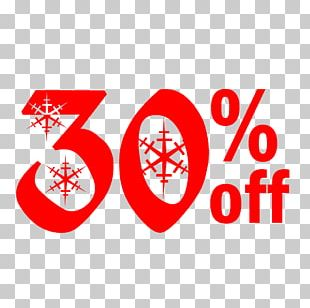 Snow Christmas Sale 30% Off Discount Tag. PNG