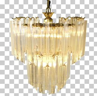 Chandelier Glass Brass Mid-century Modern Ceiling PNG