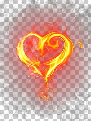 Flame Fire Light Heart PNG