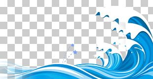 Wind Wave Blue Cartoon PNG