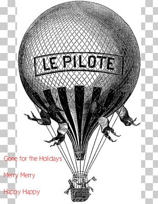 Hot Air Balloon Wedding Invitation Gift Black And White PNG