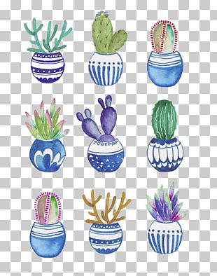 Flowerpot Cactaceae Watercolor Painting Drawing PNG