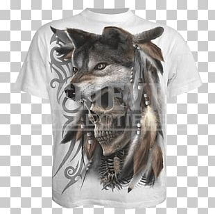T-shirt Gray Wolf Sleeve Hood Collar PNG