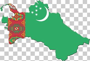 Flag Of Turkmenistan Map PNG