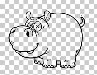 Hippopotamus Drawing Cartoon Black And White PNG