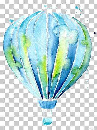 Hot Air Balloon Drawing Watercolor Painting PNG