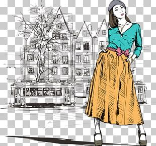 Street Fashion Girl Illustration PNG