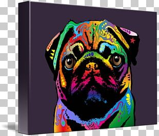 Pug Canvas Print Painting Art PNG