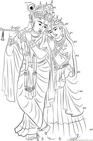 Krishna Janmashtami Radha Krishna Drawing PNG