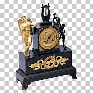 French Empire Mantel Clock Fireplace Mantel 19th Century PNG