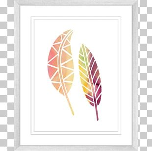 Watercolor Painting Leaf Printing Font PNG