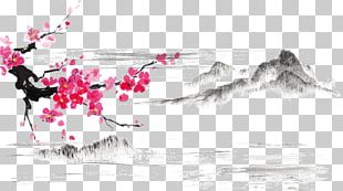 Japanese Art Ink Wash Painting Japanese Painting Cherry Blossom PNG