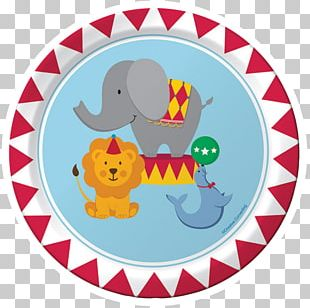 Paper Circus Party Plate Birthday PNG