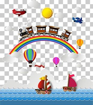 Airplane Train Rainbow PNG