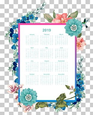 Year 2019 Calendar Printable With Floral Watercolo PNG