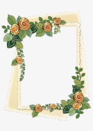 Beautiful Luxury Roses Frame Border Decorative Light Brown Frame PNG