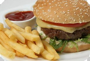 Hamburger French Fries Cheeseburger Fast Food Beef On Weck PNG