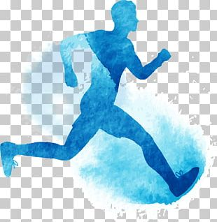 Running Watercolor Painting Illustration PNG