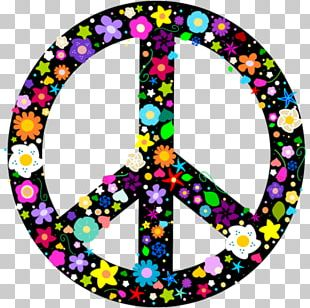 Peace Symbols Flower Power Hippie T-shirt PNG