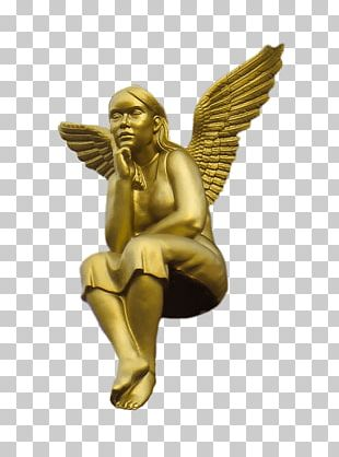 Golden Angel Sitting PNG