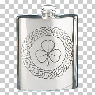 Hip Flask Shamrock Gift Pewter Ounce PNG
