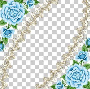 Wedding Invitation Blue Rose Frame PNG
