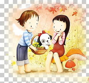 Puppy Cartoon Couple PNG