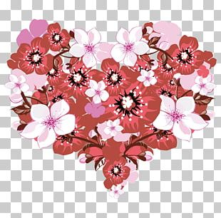 Heart Valentines Day Flower Greeting Card PNG