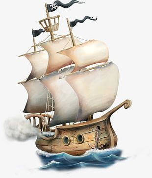 Hand-painted Cartoon Pirate Ship PNG